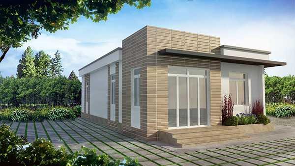 Việc ốp gạch cho bề mặt tường và thiết kế nhiều cửa sổ đón gió sẽ không gian bên trong lúc nào cũng thông thoáng