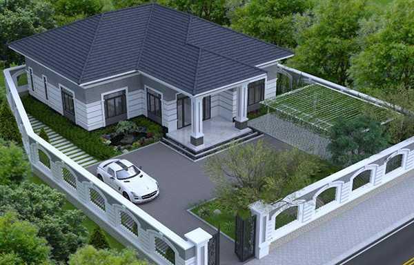 Thiết kế nhà cấp 4 này khá thích hợp với vùng nông thôn hoặc ngoại ô