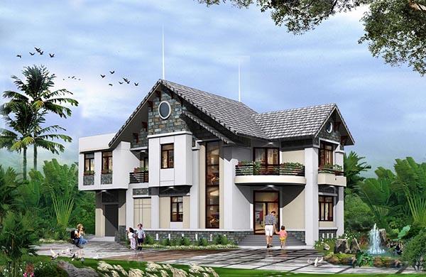 Biệt thự hiện đại với mái ốp đá ấn tượng