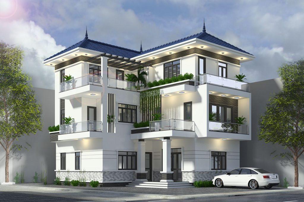 Mẫu biệt thự 3 tầng mang phong cách hiện đại, ấm cúng