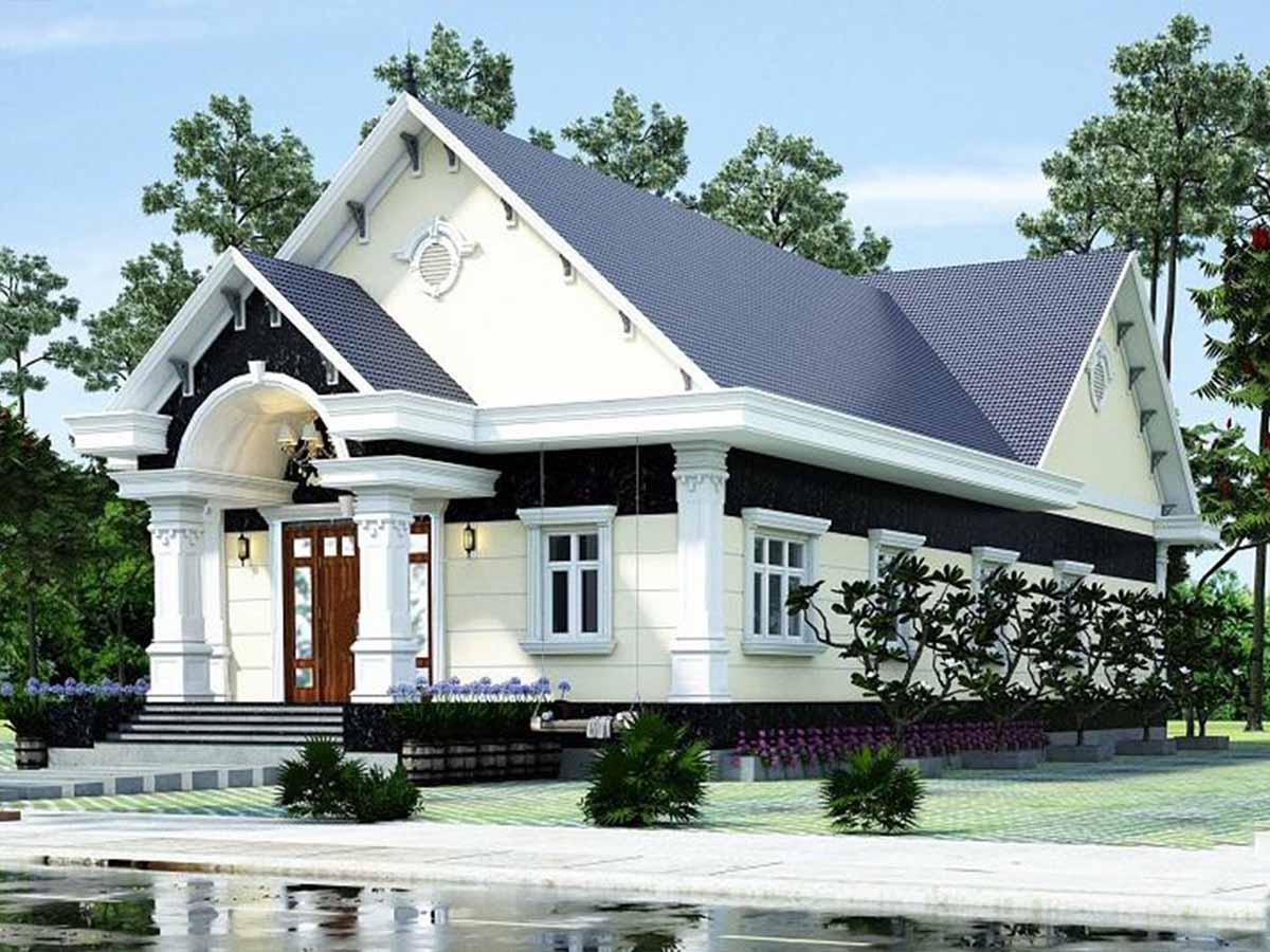 Biệt thự mái thái 1 tầng với gam màu trắng mái xanh làm nổi bật phong cách thiết kế