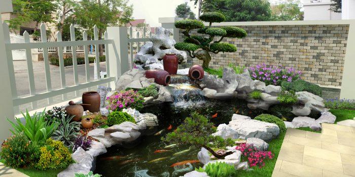 Tiểu cảnh sân vườn sẽ mang đến không khí trong lành và bình yên cho gia chủ