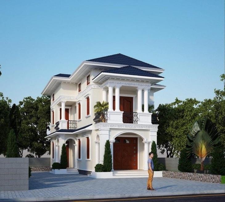 Mẫu biệt thự mini 2 tầng tạo nên sự bề thế và sang trọng